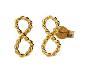 9ct Yellow Gold Infinity Stud Earrings