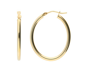 9ct Yellow Gold 27mm Oval Hoop Earrings