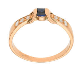 Handcrafted Italian 0.15ct Sapphire & Diamond Ring