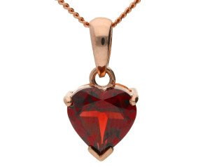 9ct Yellow Gold Garnet Heart Solitaire Pendant