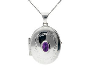 Silver & Amethyst Oval Locket
