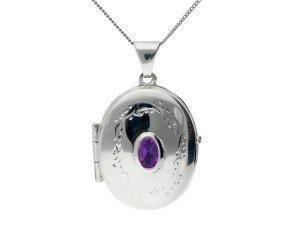 Silver & Amethyst Oval Locket