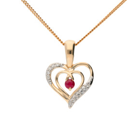 9ct Yellow Gold Ruby & Diamond Heart Pendant