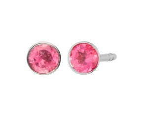 9ct White Gold 0.20ct Pink Tourmaline Solitare Stud Earrings
