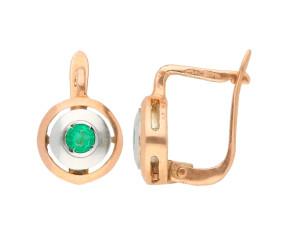 Handcrafted Italian 9ct Rose Gold & Silver Emerald Fancy Earrings