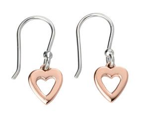 Rose Gold Open Heart Drop Earrings