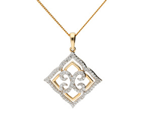 9ct Yellow Gold Diamond Lace Openwork Pendant