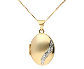 9ct Yellow Gold Diamond Locket
