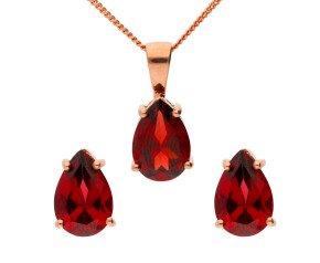 9ct Rose Gold Pear Garnet Solitaire Pendant & Earrings Set