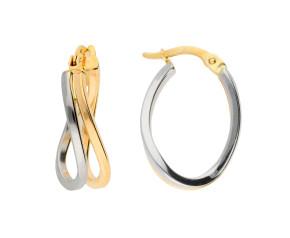 9ct Yellow & White Gold Hoop Earrings