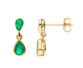 9ct Yellow Gold 1.05cts Emerald Drop Earrings