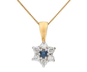 9ct Yellow Gold Sapphire & Diamond Cluster Pendant