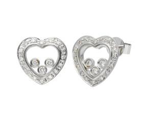 9ct White Gold Floating 0.35ct Diamond Heart Earrings