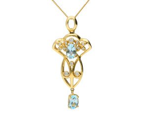 Vcitorian Inspired 9ct Yellow Gold 0.75ct Aquamarine & Diamond Fancy Pendant
