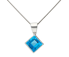 9ct White Gold 0.75ct Swiss Blue Topaz Pendant