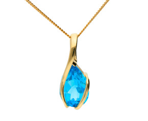 9ct Yellow Gold 1.95ct Swiss Blue Topaz Solitaire Pendant