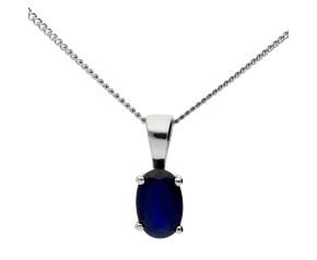 9ct White Gold 0.40ct Sapphire Pendant