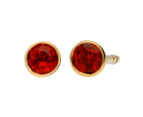 9ct Yellow Gold 0.30ct Round Garnet Rub Over Earrings