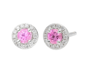 18ct White Gold 0.30ct Pink Sapphire & Diamond Cluster Earrings