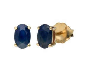9ct Yellow Gold 6mm Oval Sapphire Solitaire Earrings