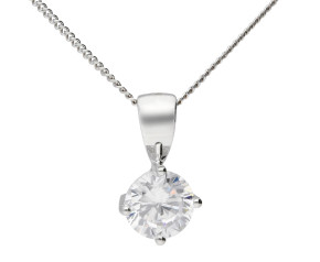 9ct White Gold 5mm Cubic Zirconia Solitaire Round Shape Pendant