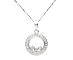9ct White Gold Floating Diamond Pendant