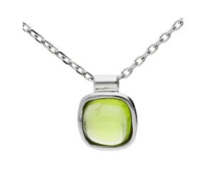 9ct White Gold Peridot Solitaire Pendant