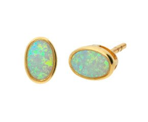 9ct Yellow Gold 0.50ct Oval Opal Solitaire Stud Earrings
