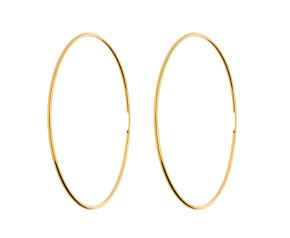 9ct Yellow Gold 60mm Fine Sleeper Hoop Earrings