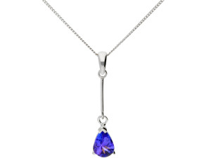 9ct White Gold 0.70ct Tanzanite Solitare Pendant