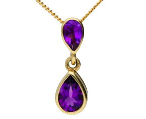 9ct Yellow Gold 0.65ct Amethyst Double Drop Pendant