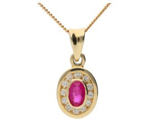 9ct Yellow Gold 0.35ct Ruby & Diamond Cluster Pendant