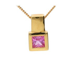 18ct Yellow Gold 0.40ct Square Pink Sapphire Solitaire Pendant