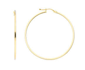 9ct Yellow Gold 44mm Squared Edge Hoop Earrings