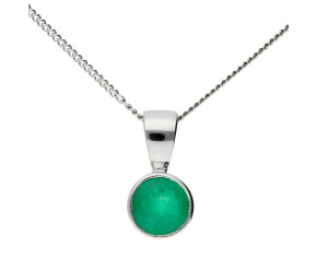 9ct White Gold 0.56ct Emerald Solitare Pendant