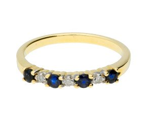 9ct Yellow Gold Sapphire & Diamond Eternity Ring
