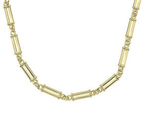 18ct Yellow Gold Double Round Pillar Chain Necklace