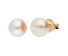 9ct Gold 6mm Freshwater Button Pearl Earrings