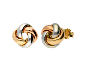 9ct Yellow White & Rose Gold Knot Earrings