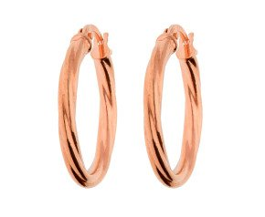 9ct Rose Gold Twisted Hinged Hoop Earrings