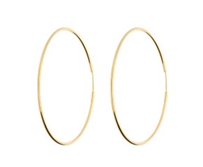 9ct Yellow Gold 53mms Large Sleeper Hoop Earrings