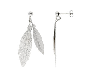Sterling Silver Double Feather Drop Earrings