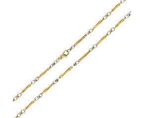 "Pre-Owned 18"" 9ct Yellow & White Gold Fancy Chain Necklace"