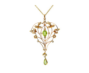 Antique 9ct Yellow Gold Peridot & Split Pearl Pendant