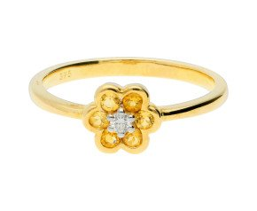9ct Yellow Gold Citrine & Diamond Cluster Ring