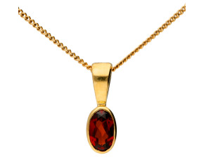 9ct Yellow Gold 0.15ct Oval Garnet Rub Over Pendant