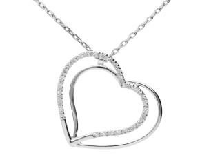 9ct White Gold 0.15ct Diamond Heart Pendant