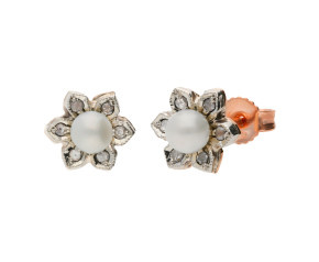 Handcrafted Italian 9ct Rose Gold Diamond & Pearl Flower Earrings