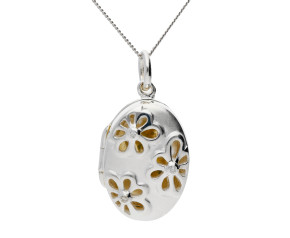 Sterling Silver & Cubic Zirconia Oval Floral Locket
