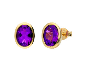 9ct Yellow Gold Bezel Set 2.0ct Amethyst Earrings